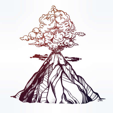 eruption: Vector hand drawn sketch of the volcano.