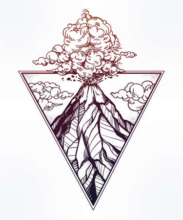 Hand drawn volcano in triangle frame artwork. Illustration