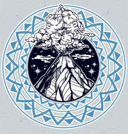 eruption: Boho tribal style hand drawn volcano illustration. Illustration