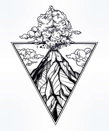 Hand drawn volcano in triangle frame artwork. Illustration