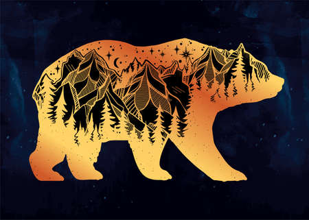 exposure: Double exposure bear with mountains landscape.