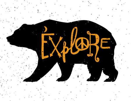 yellow adventure: Vintage bear with slogan. Illustration