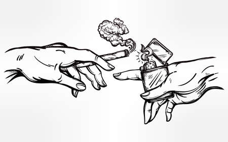spliff: Hands with weed joint or cigarette and a lighter.