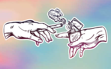 religion  herb: Hands with weed joint or cigarette and a lighter.