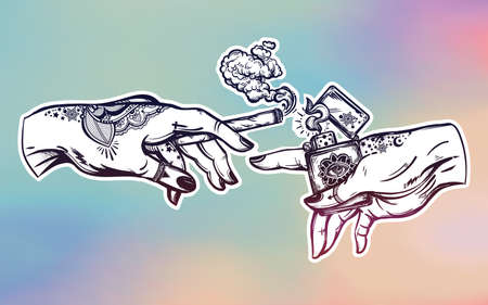 stoned: Hands with weed joint or cigarette and a lighter.