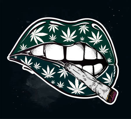 lips with weed, joint or tabacco cigarette.