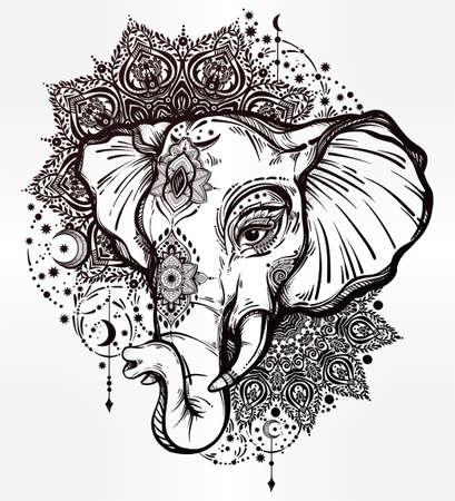 hinduismo: elefante con el ornamento decorativo Mandala tribal. Vectores