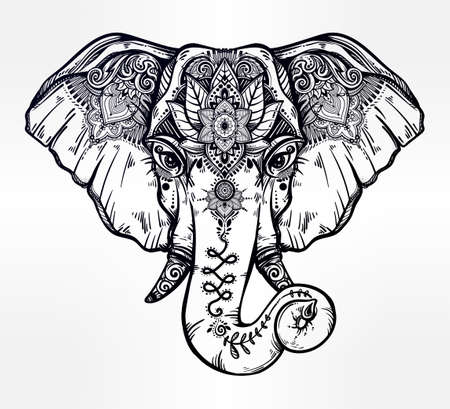 Decorative elephant with ethnic lotus ornament. Illustration