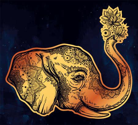thai art: Decorative profile elephant profile with flowers.