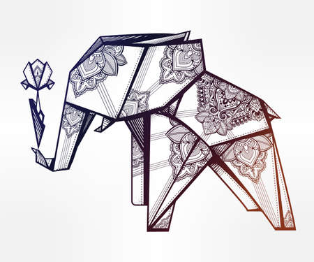 folded paper: Geometric origami elephant in paisley with flower. Illustration