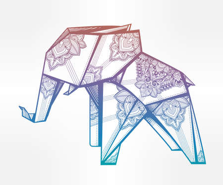 folded paper: Geometric origami elephant with paisley ornament. Illustration