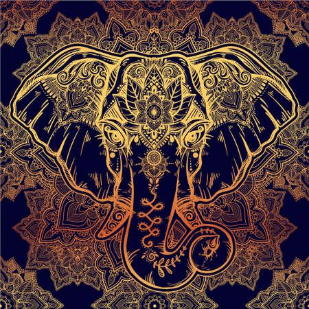 pattern: Beautiful floral paisley elephant head pattern.