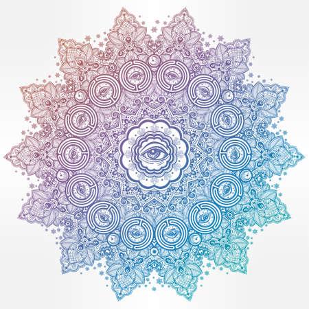 Illuminati eye in ornate round mandala pattern. Illustration