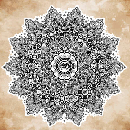 illuminati: Illuminati eye in ornate round mandala pattern. Illustration