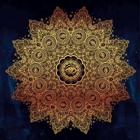 Illuminati eye in ornate round mandala pattern. Stock Photo