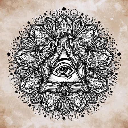 spirituality: All seeing eye in ornate round mandala pattern.