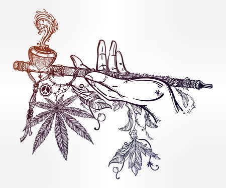 indica: Human hand holding a cannabis smoking pipe of peace.