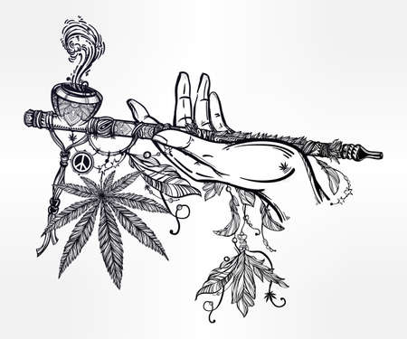Human hand holding a cannabis smoking pipe of peace.