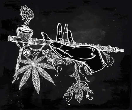 stoned: Human hand holding a cannabis smoking pipe of peace.