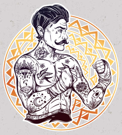 old fashioned: Flash tattoo boxer fighter, player vintage style. Illustration
