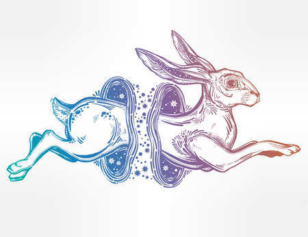 Hare or rabbit jumping through the magic wormhole.