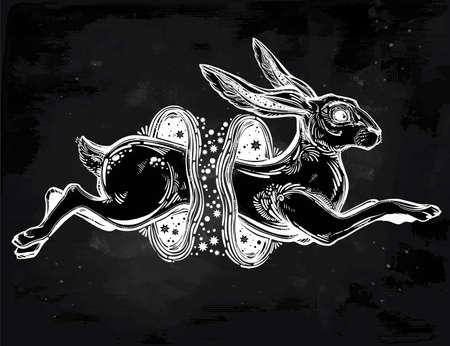 Liebre o conejo saltando a través del agujero de gusano mágico.