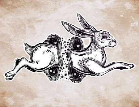 wormhole: Hare or rabbit jumping through the magic wormhole.