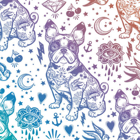 traditional pattern: Vintage traditional tattoo flash seamless pattern.