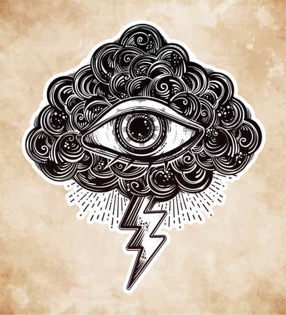 psychic: Vintage eye in clouds, traditional flash tattoo.