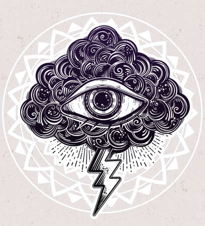 paranoia: Vintage eye in clouds, traditional flash tattoo.