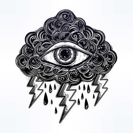 Vintage traditional tattoo flash eye in the cloud.