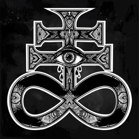 The Satanic Cross with evil eye, demon Leviathan.