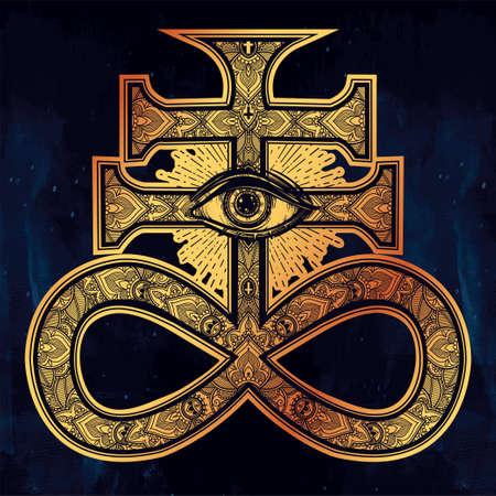 mystic: The Satanic Cross with evil eye, demon Leviathan.