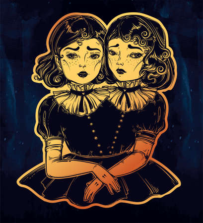 siamese: Portrait of victorian circus siamese twins.