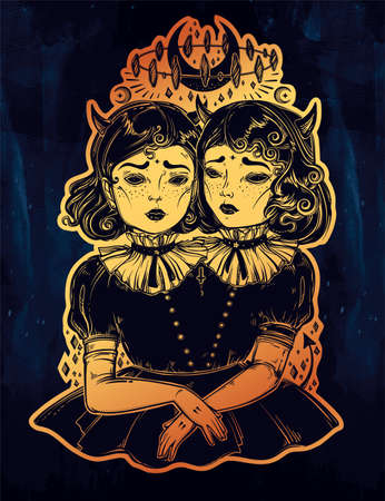 twin sister: Gothic witchcraft siamese twins.