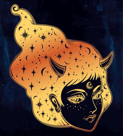 Yokai - demon woman in Asian folklore illustration