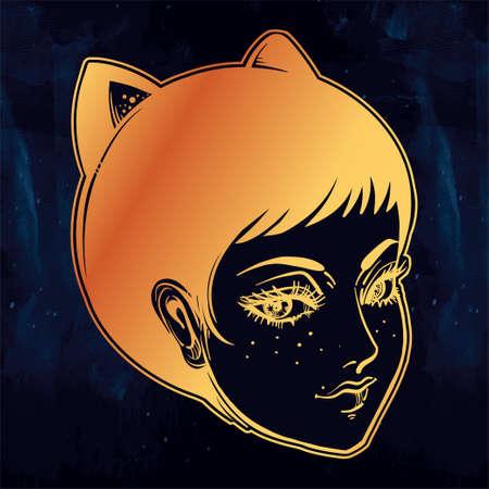 neko: Anime or retro manga style woman with cat ears.