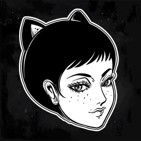 Anime or retro manga style woman with cat ears.