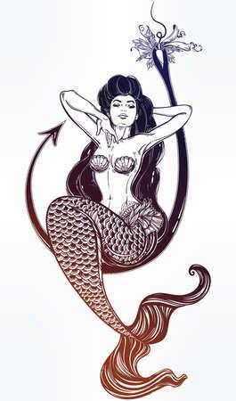 Mermaid girl sitting on fishing hook artwork.