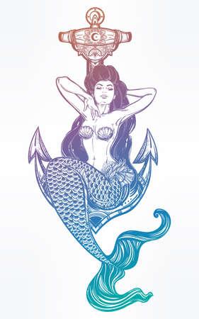 Artwork of mermaid girl sitting on anchor. Illustration