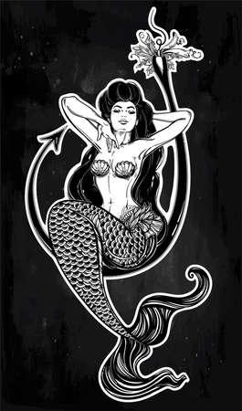 water nymph: Mermaid girl sitting on fishing hook artwork.