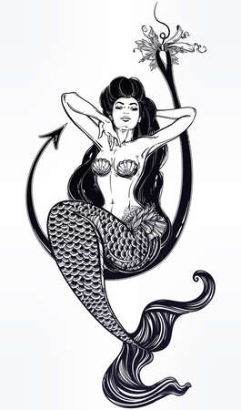 books isolated: Beautiful mermaid girl sitting on fishing hook hand drawn artwork. Graceful ocean siren in retro style. Sea, fantasy, spirituality, mythology, tattoo art, coloring books. Isolated vector illustration. Illustration