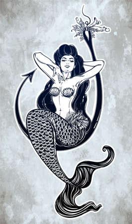 fishhook: Beautiful mermaid girl sitting on fishing hook hand drawn artwork. Graceful ocean siren in retro style. Sea, fantasy, spirituality, mythology, tattoo art, coloring books. Isolated vector illustration. Illustration