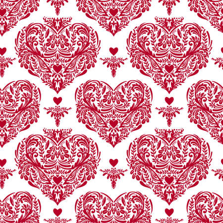gothic style: Vector seamless vintage pattern with hearts.