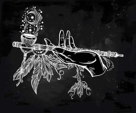 peace pipe: Human hand smoking magic pipe of peace. Beautiful romantic crescent moon with flowers and feathers.