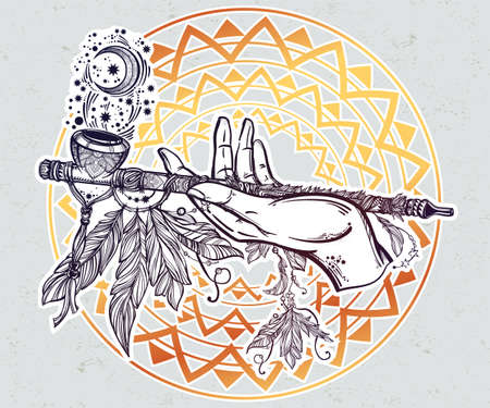 peace pipe: Human hand smoking magic pipe of peace.