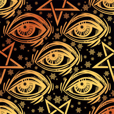 Seamless pattern with eye, stars and pentagram. Illustration