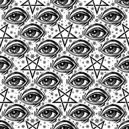 occultism: Seamless pattern with eye, stars and pentagram. Stock Photo