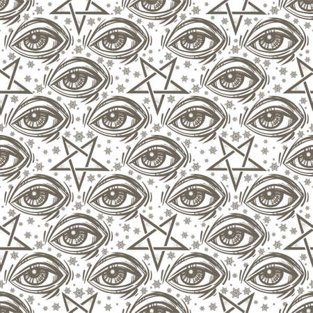 Seamless pattern with eye, stars and pentagram. Stock Photo