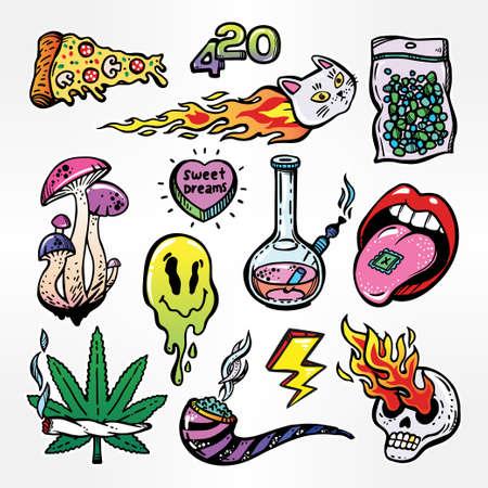 mdma: Fashion patch badges set with trippy drug theme.